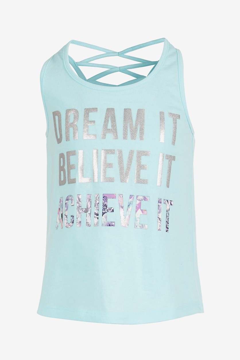 Toddler Girls Dream It Graphic Tank Top, Blue Light