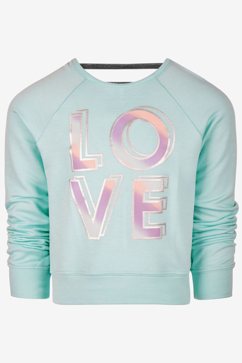 Toddler Girls Love-Print Sweatshirt, Blue Light