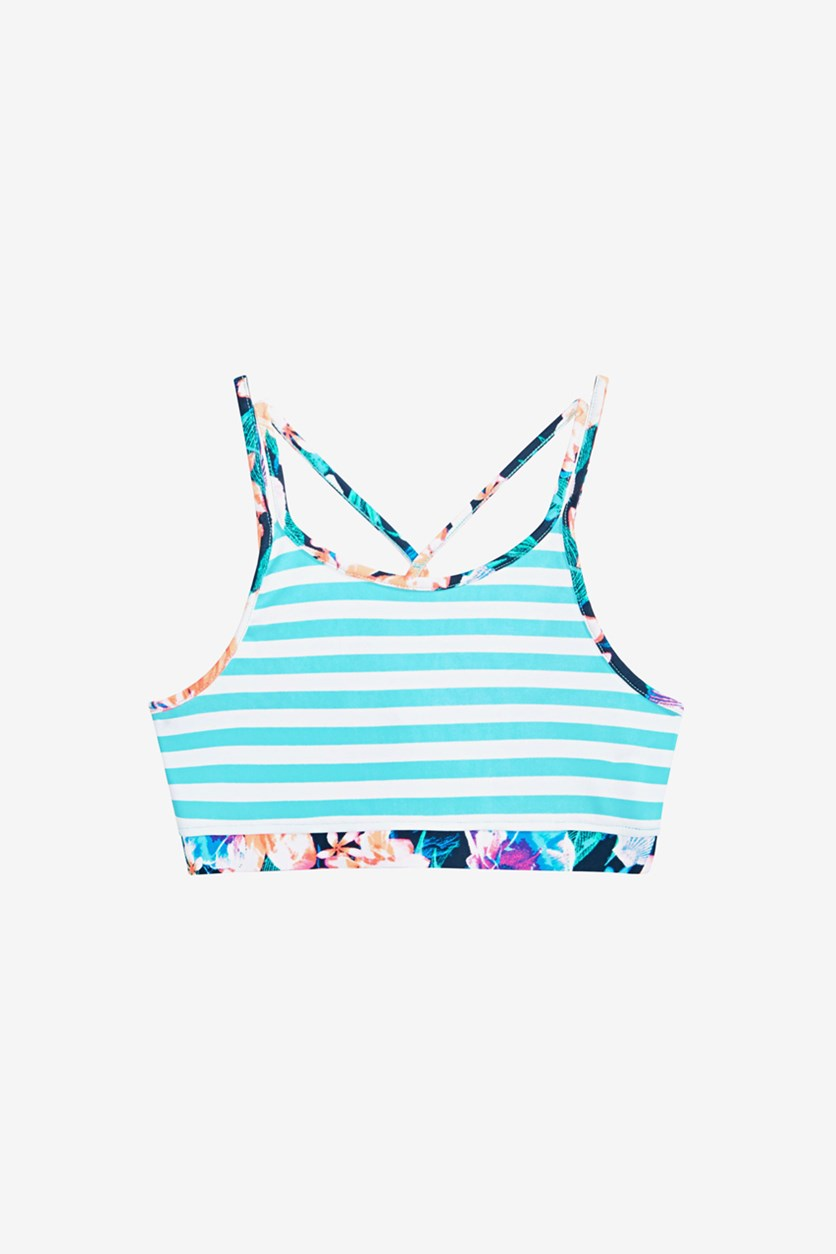 Big Girls Striped Bikini Top, Crystal Mist