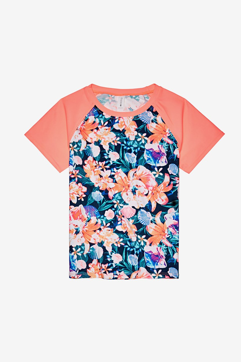 Big Girls Floral-Print Rash Guard, Lucky Blue