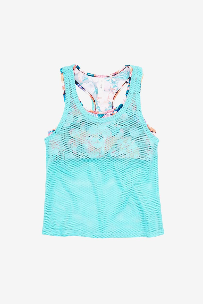Big Girls Layered-Look Mesh Tankini Swim Top, Crystal Mist