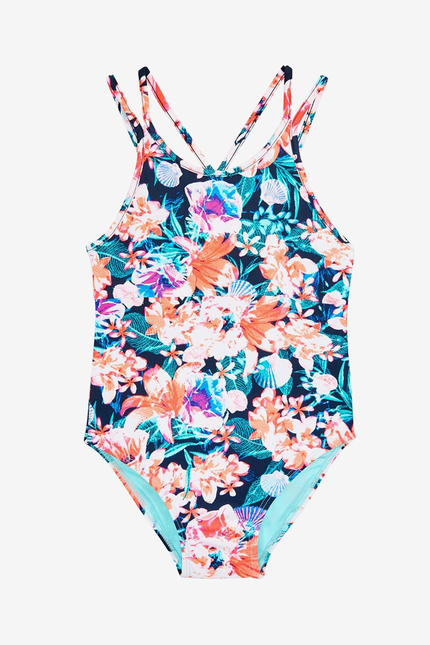 Little Girls 1-Pc. Floral-Print Swimsuit, Lucky Blue