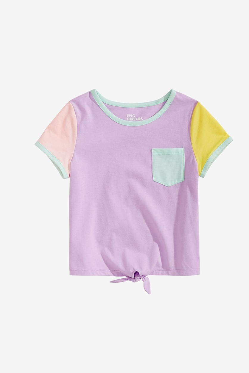 Girls Colorblocked T-Shirt, Orchid Bloom
