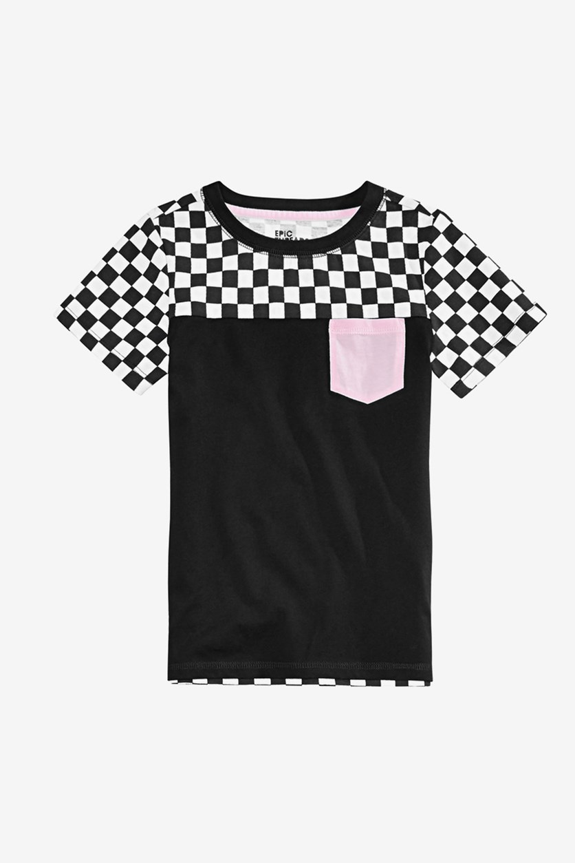 Kids Boys Checkered Pink Pocket T-Shirt, Deep Black