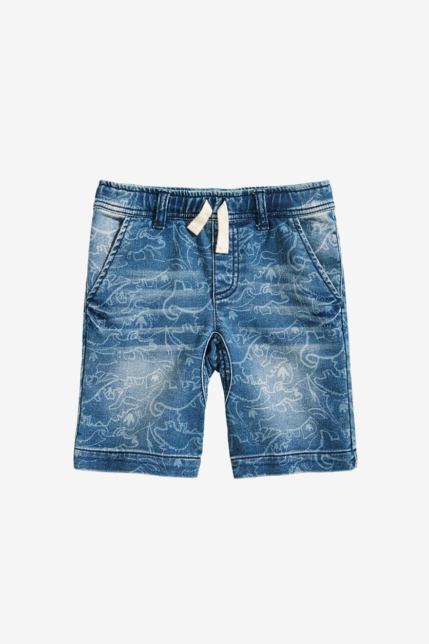 Toddler Boys Dino-Print Denim Shorts, Dino Wash