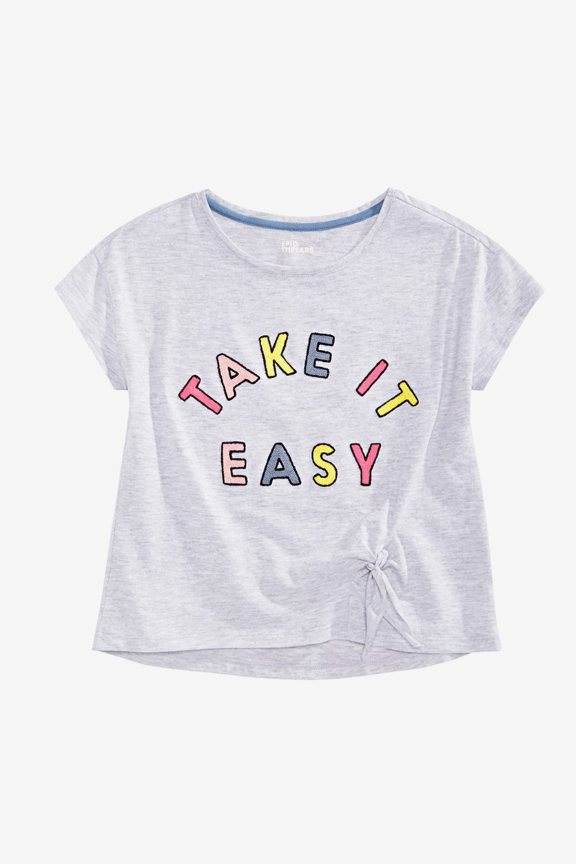 Big Girl's Embroidered Side Tie T-Shirt, Grey
