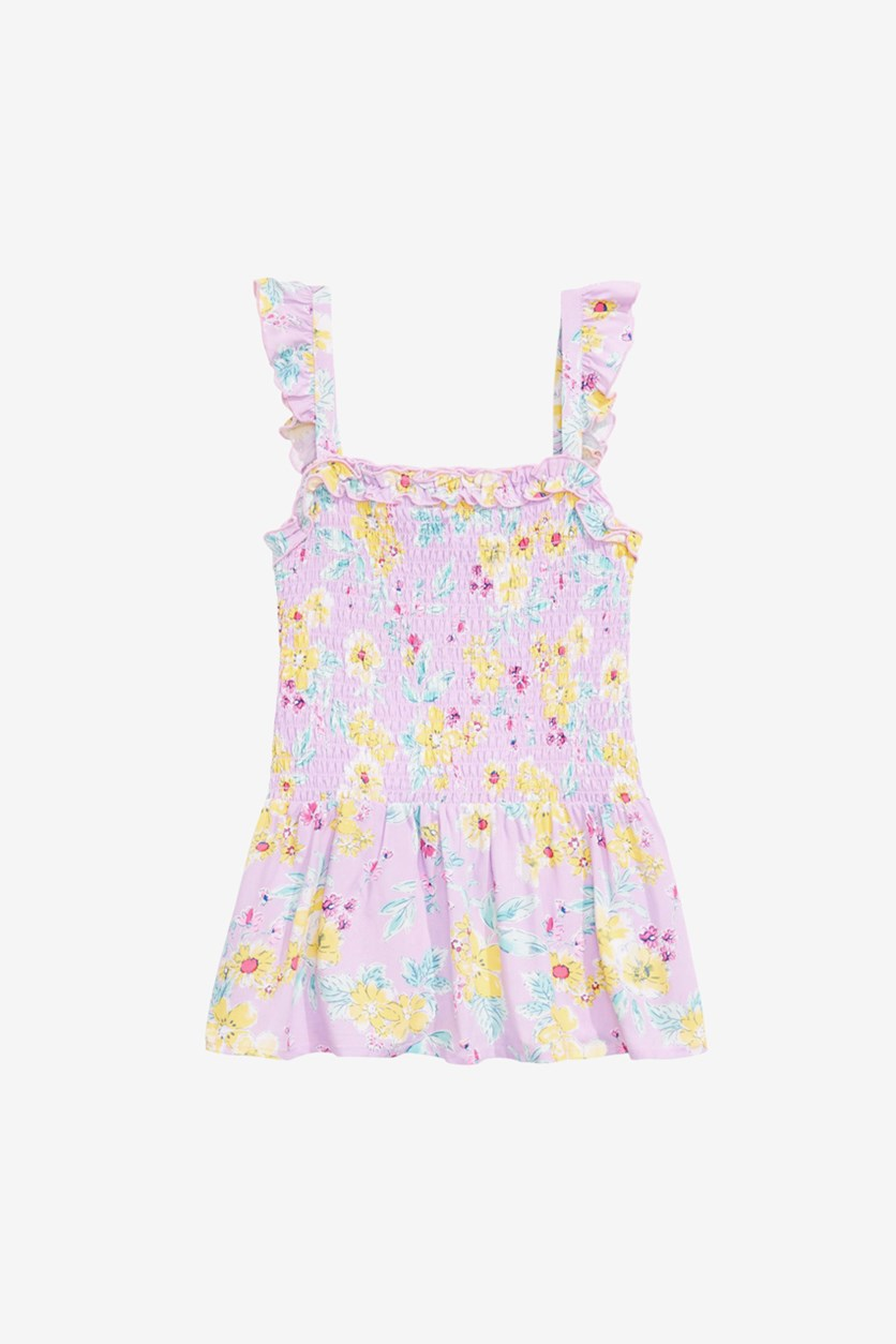 Big Girls Smocked Floral-Print Top, Orchid Bloom
