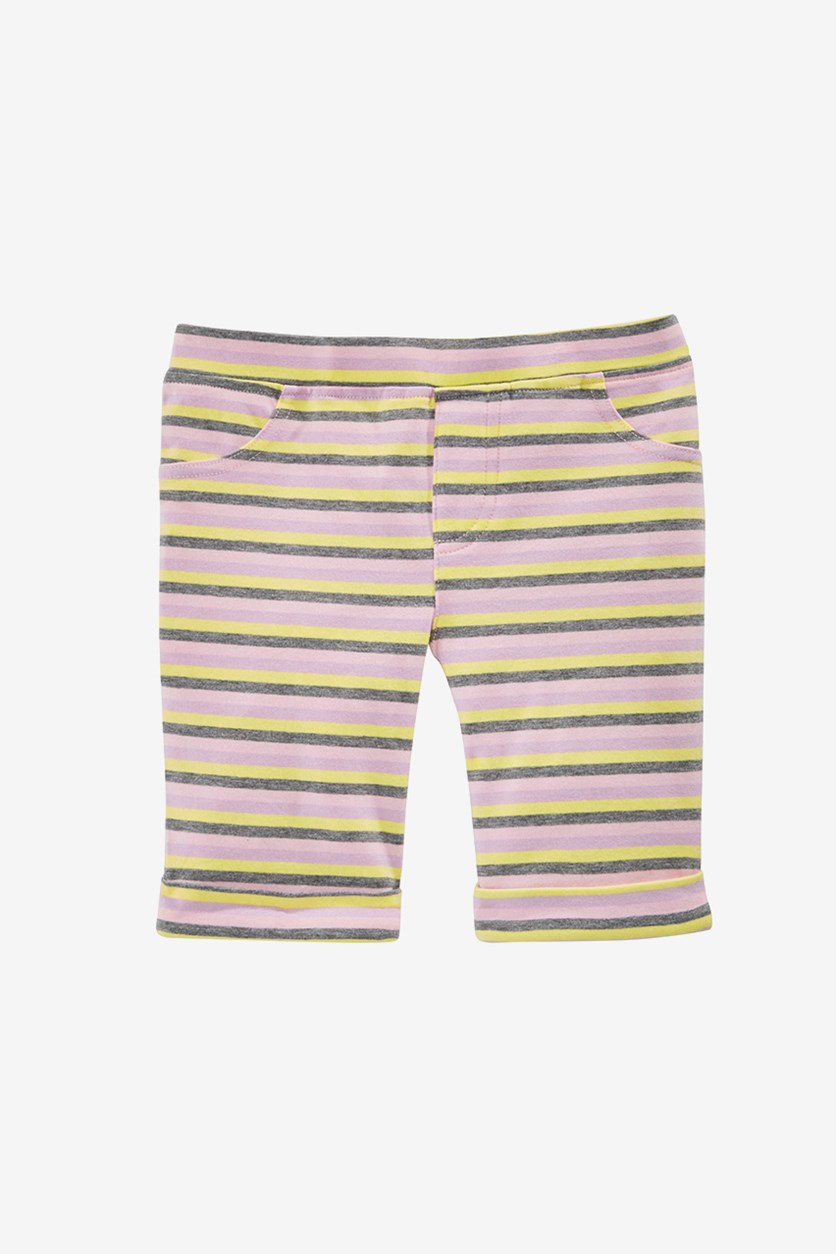 Girls Stripe Bermuda Short, Crystal Rose