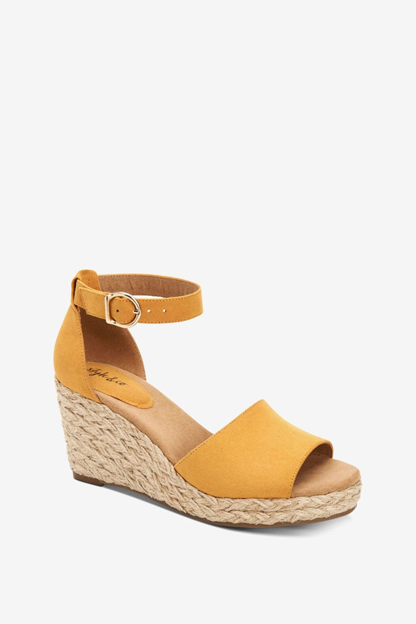 Women's Sleeney Faux Suede Open Toe Wedge, Yellow