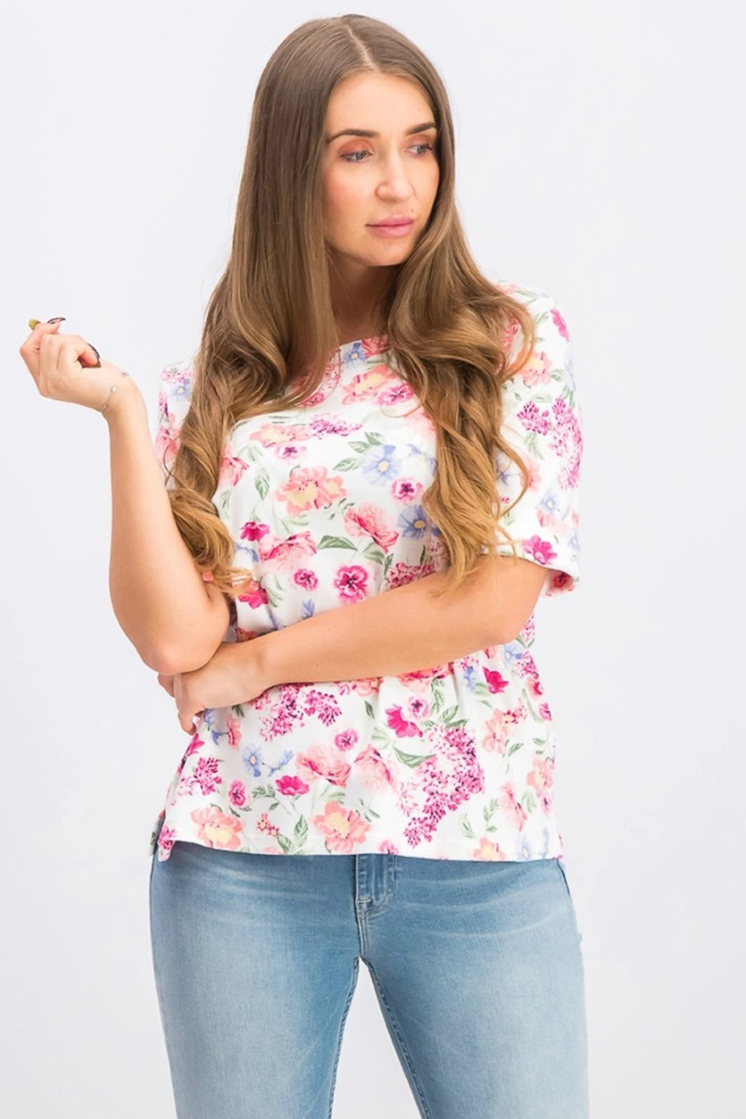 Women's Floral-Print T-Shirt, White/Dark Pink Combo
