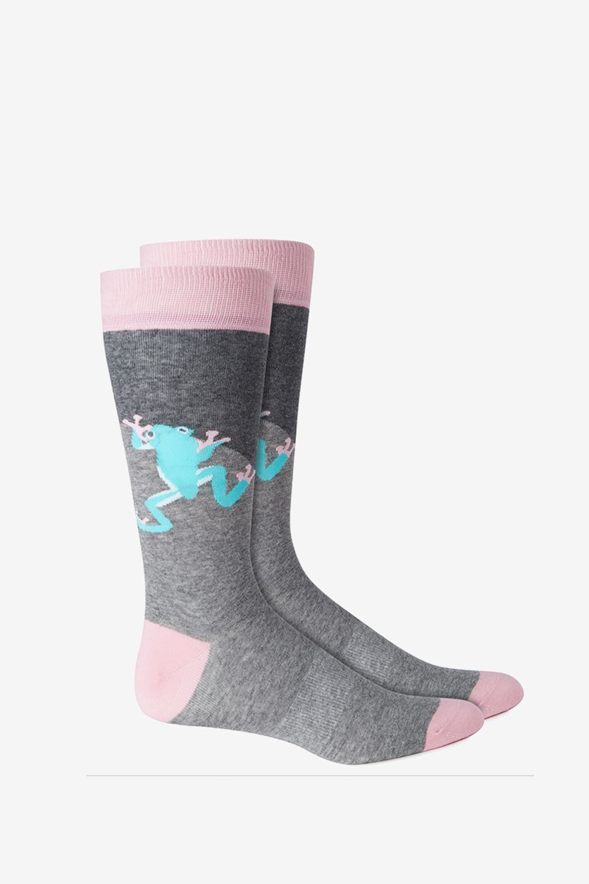 Mens Colorblock Seamless Dress Socks, Heather Gray/Pink