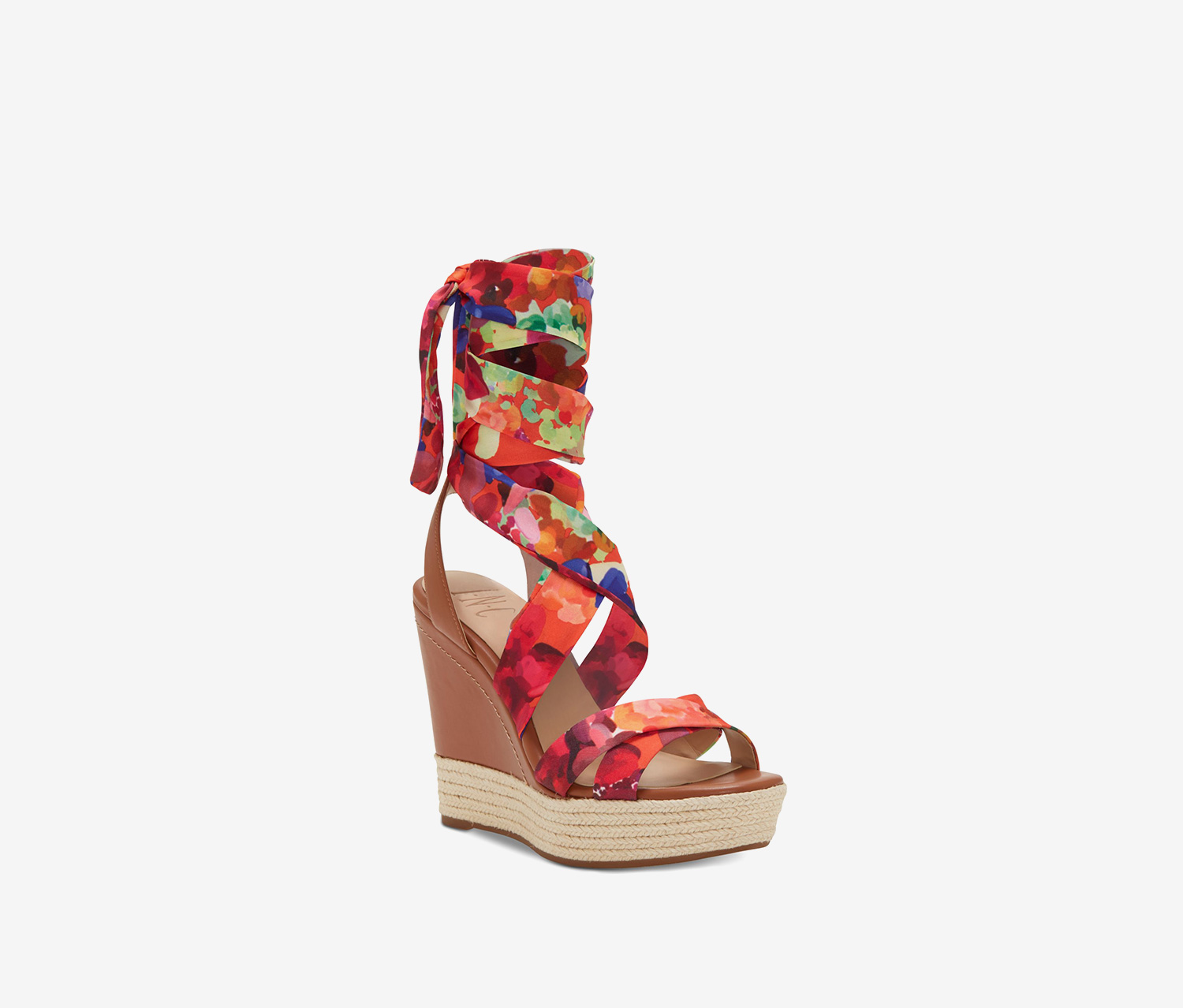 Womens Cabiate Fabric Open Toe Ankle Wrap, Floral Combo
