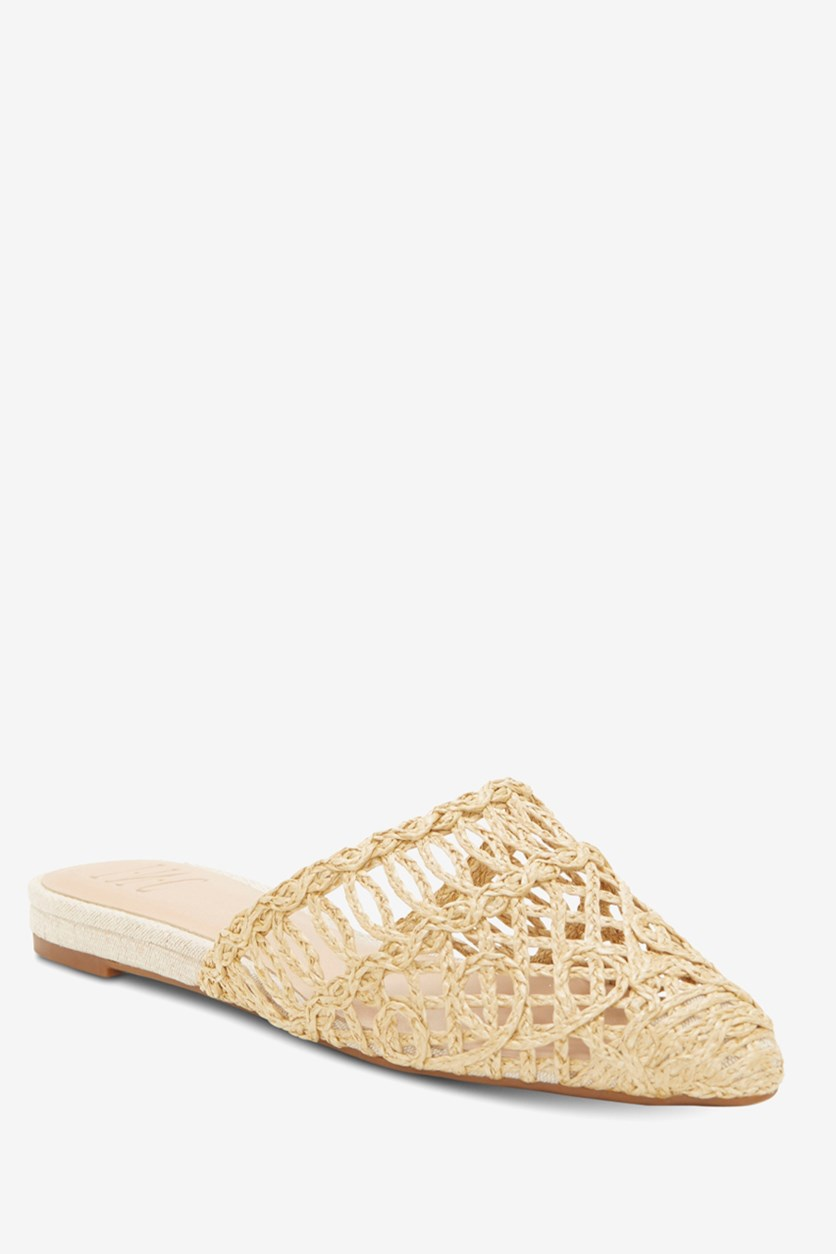 Women's Macaria Pointed-Toe Mules, Straw Natural