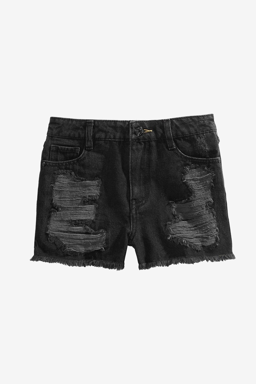 Big Girls Ripped Cotton Denim Shorts, Berlin Wash