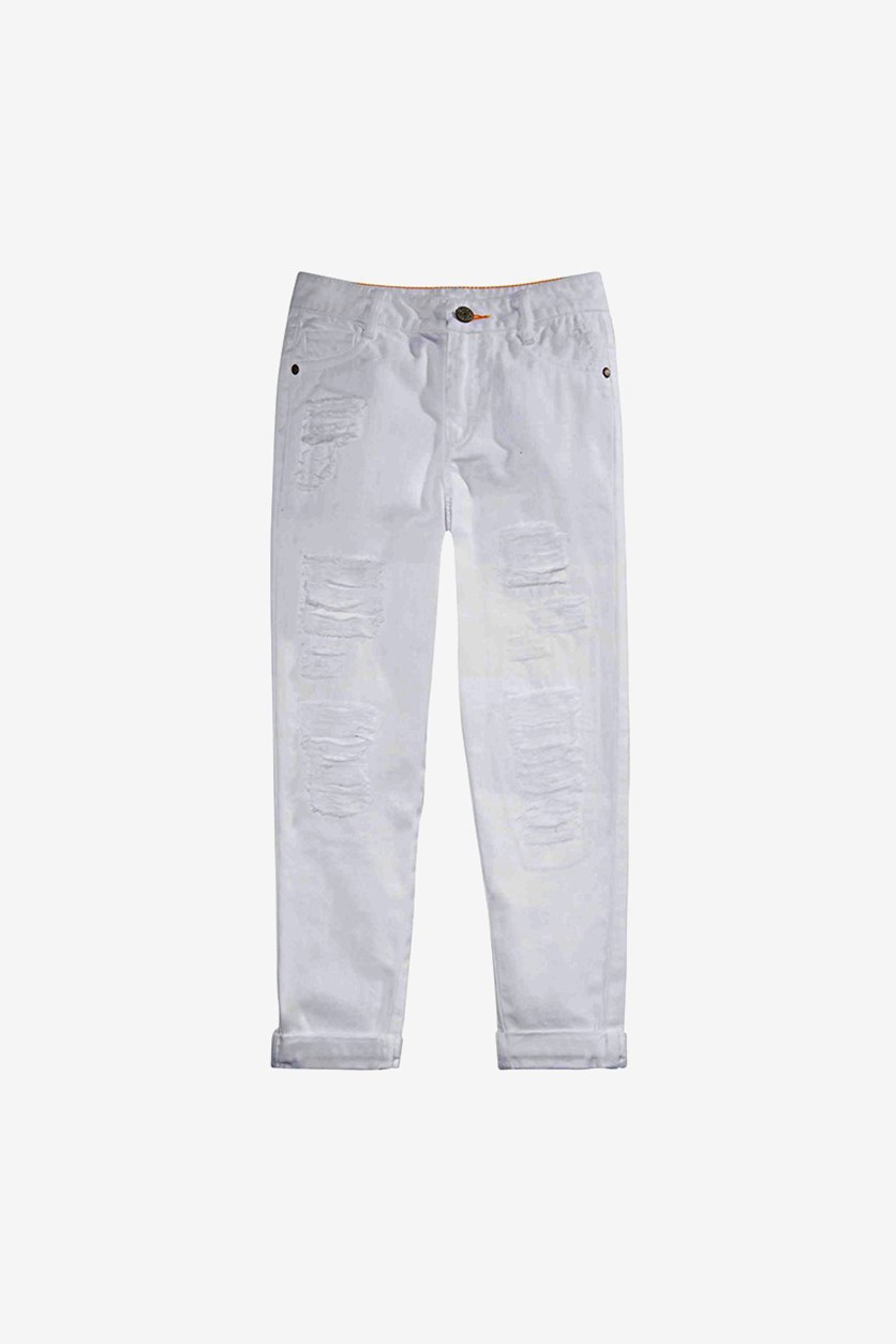 Kid's Girl Distressed Cotton Jeans, White