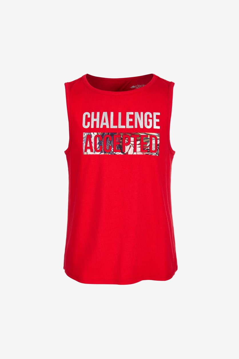 Big Girls Graphic Tank Top, Chinese Red