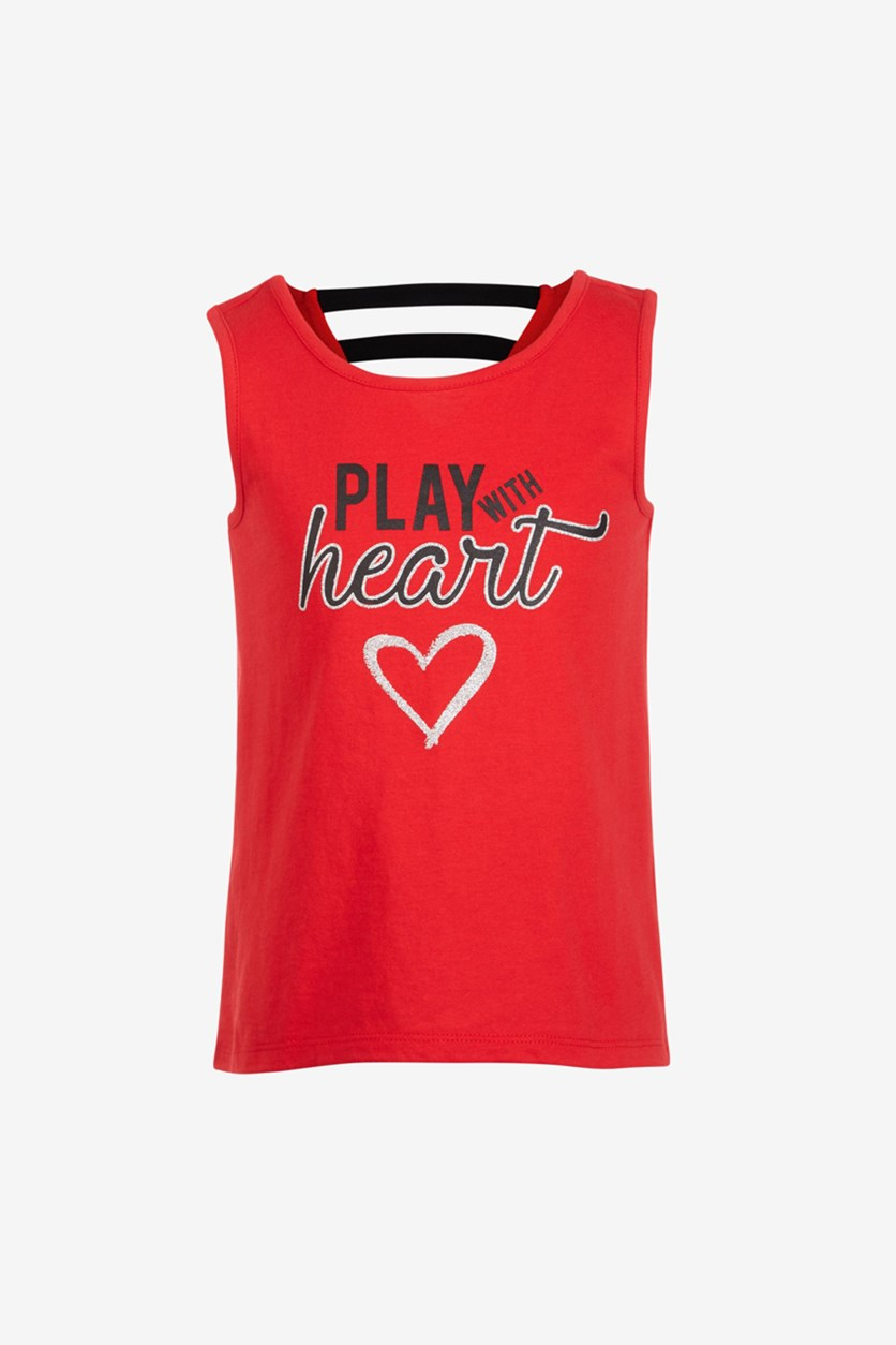 Girls Strappy Back Graphic Tank Top, Red