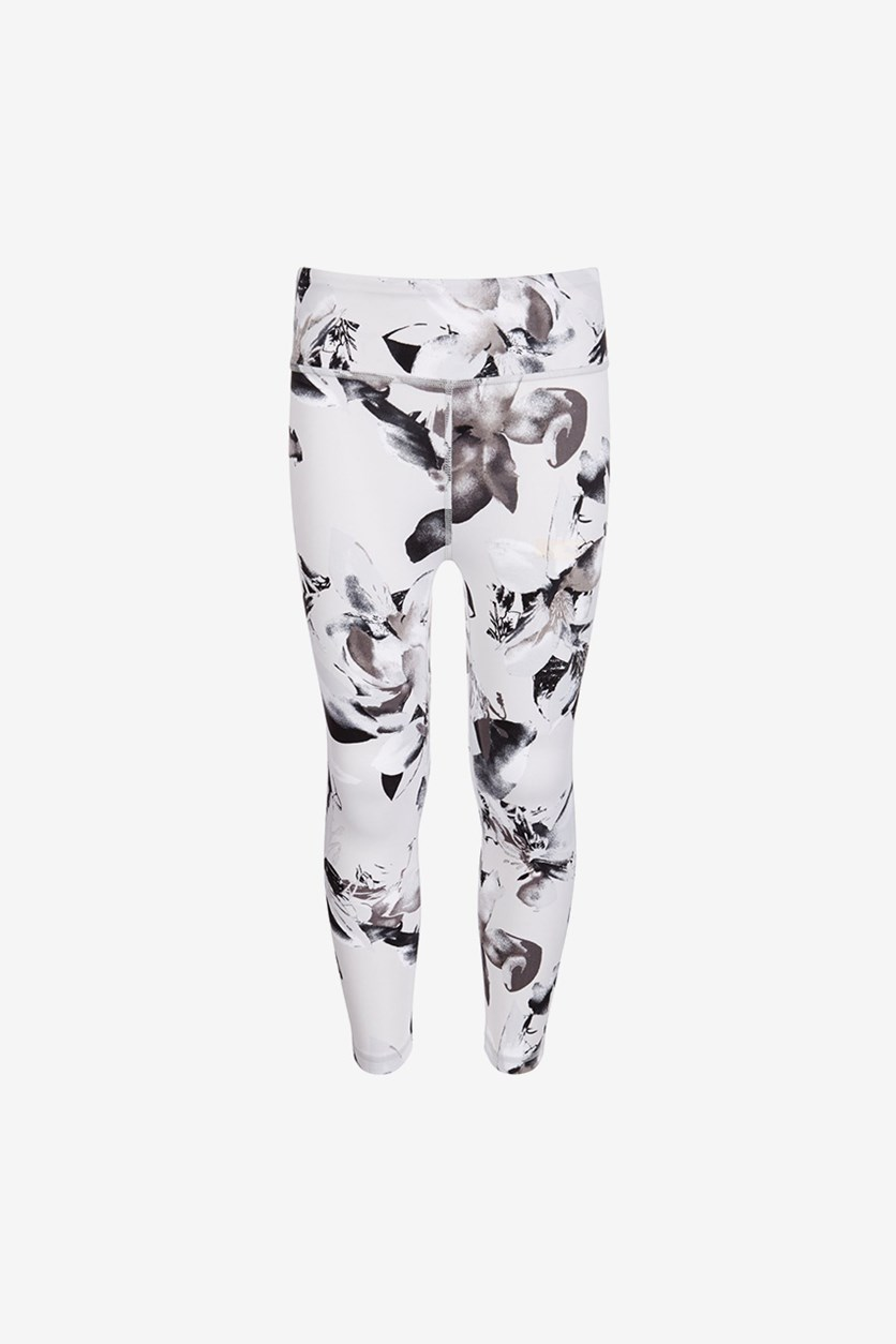 Big Girls Printed High-Rise Ankle Leggings, Floral Grey