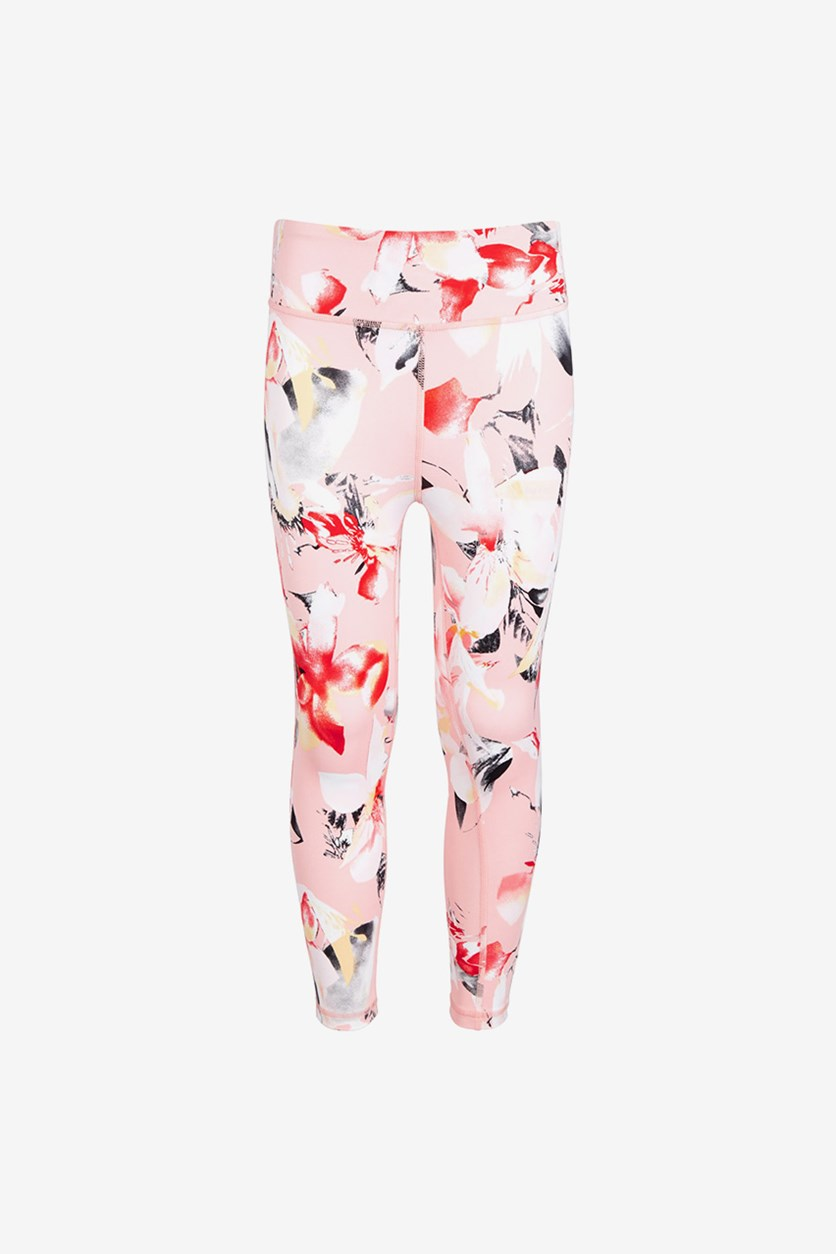 Toddler Girls Printed Leggings, Floral Pink