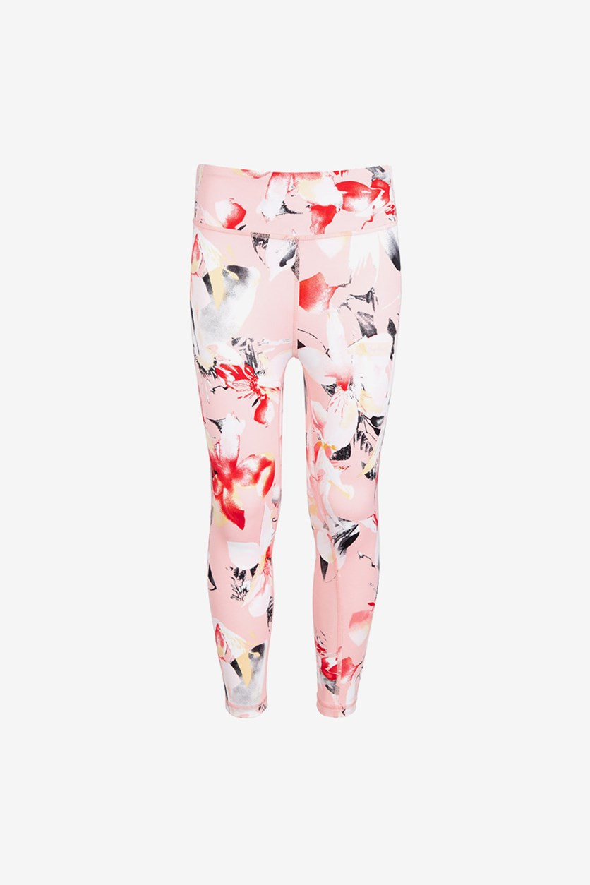 Big Girls Colorblocked High-Rise Ankle Leggings, Floral Pink