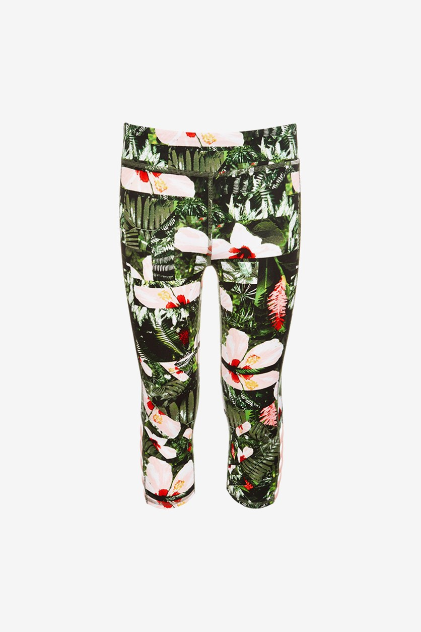 Big Girls Cage Capri Leggings, Floral Green