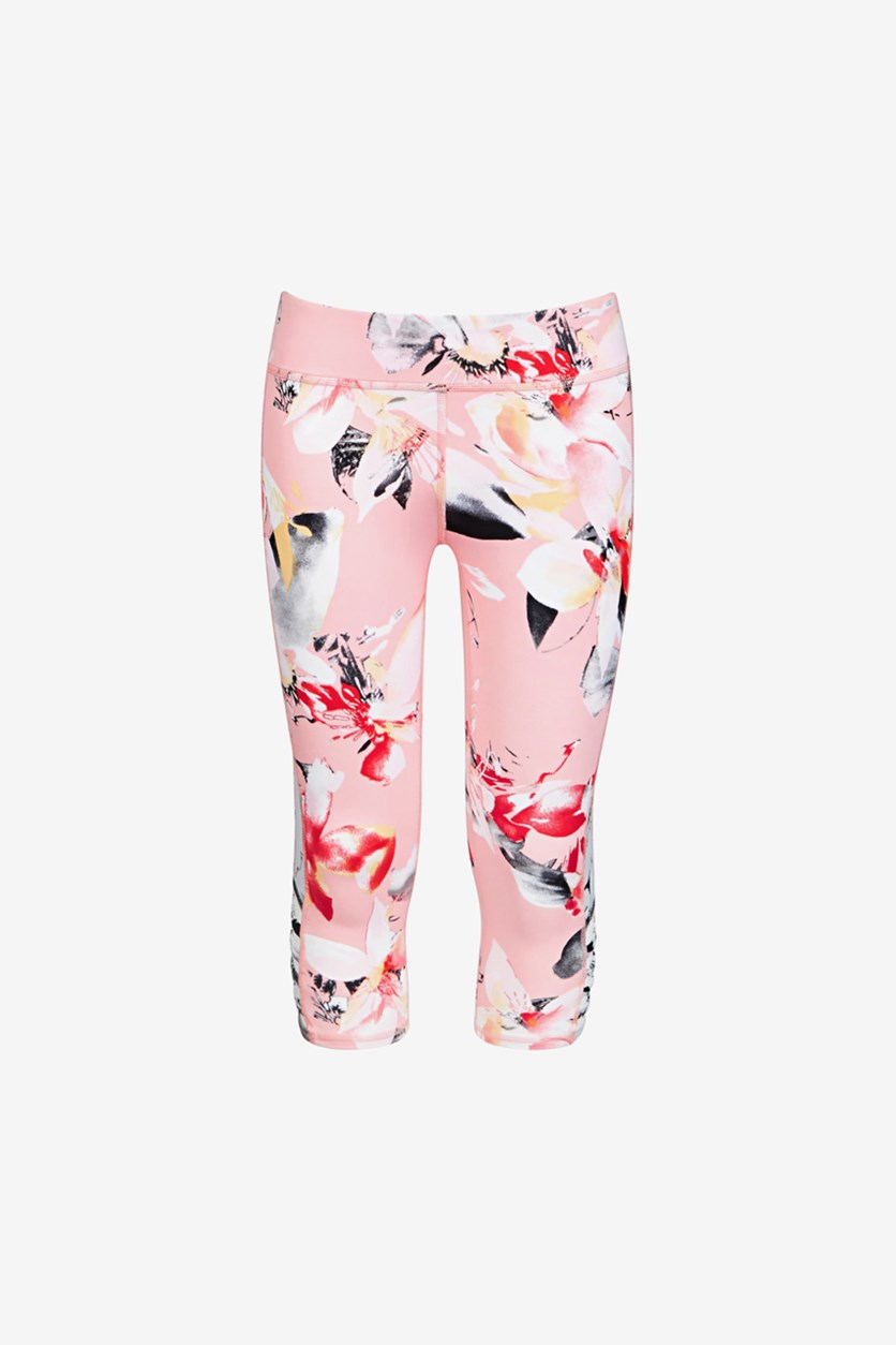 Big Girls Cage Capri Leggings, Floral Pink