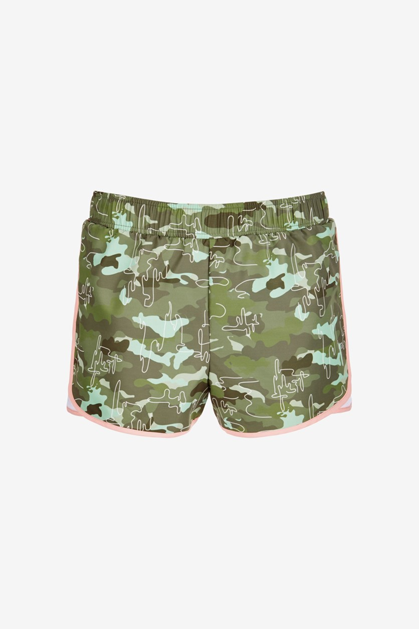Big Girls Printed Active Shorts, Camo Green Moss
