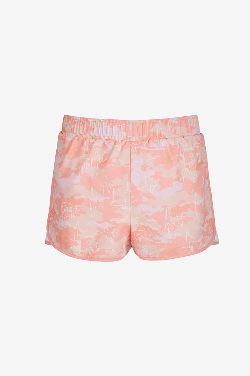 Big Girls Printed Active Shorts, Camo Satin Pink