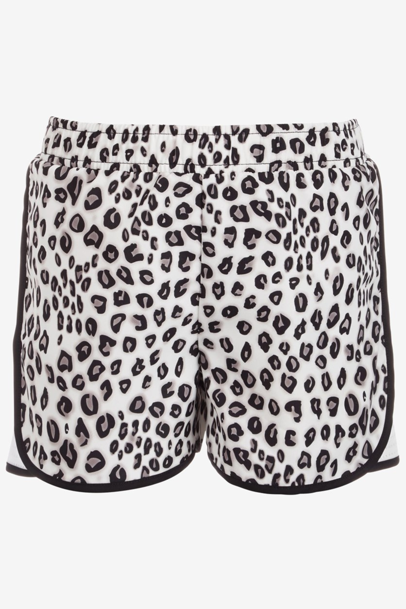 Little Girls Printed Active Shorts, Leopard Grey
