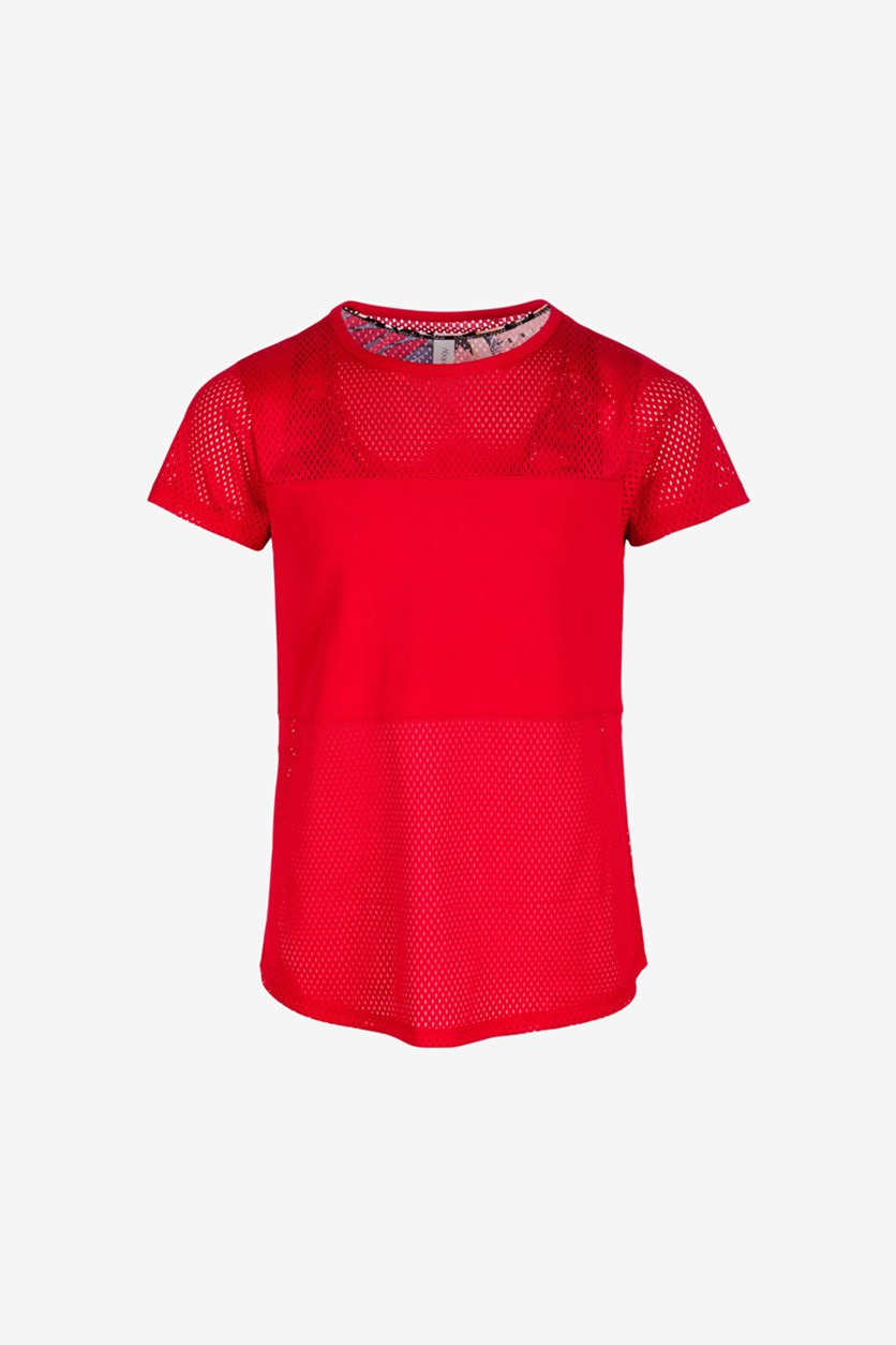 Big Girls Active Layered-Look T-Shirt, Chinese Red