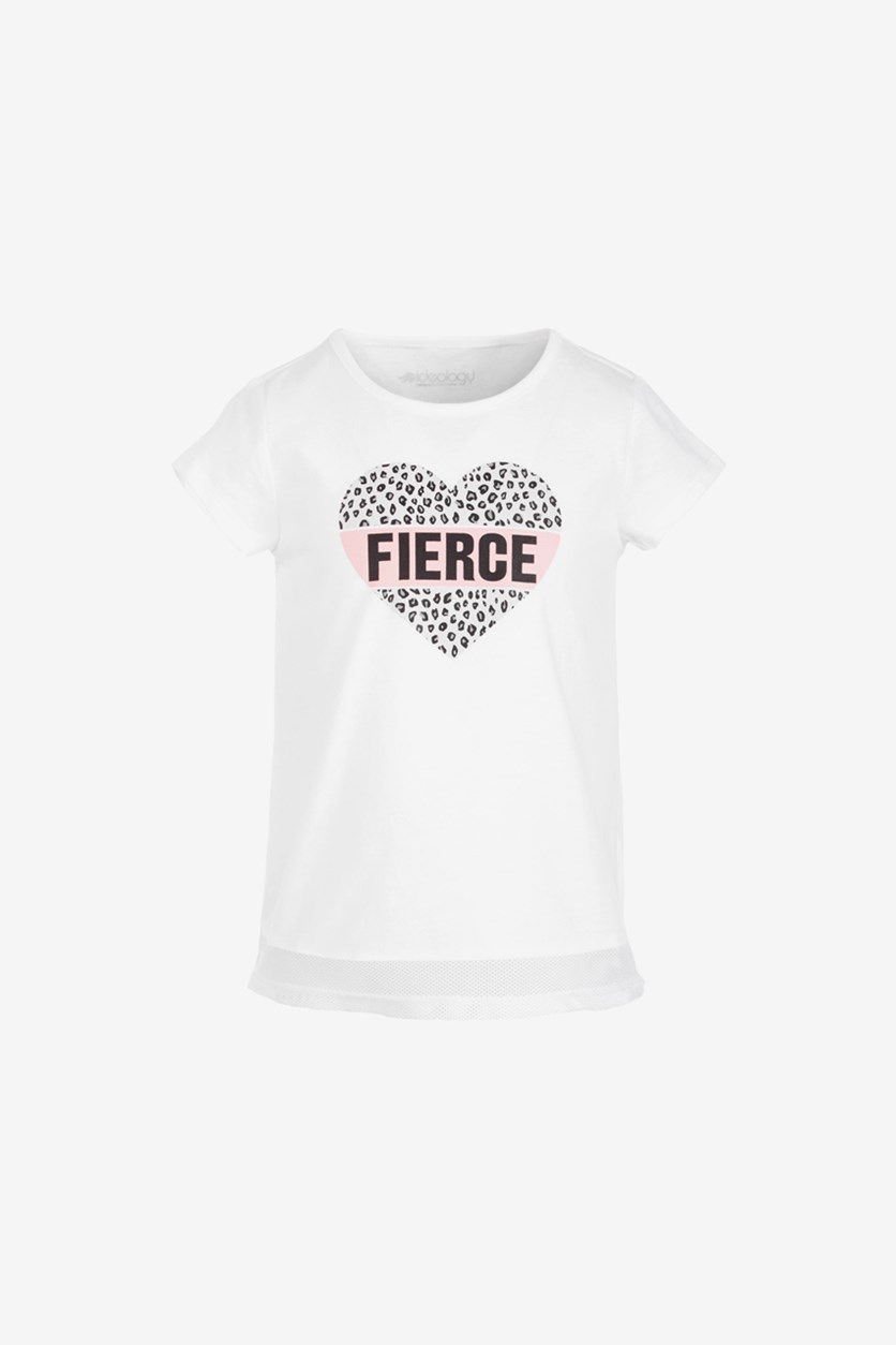 Toddler Girls Mesh-Hem T-Shirt, Fierce White