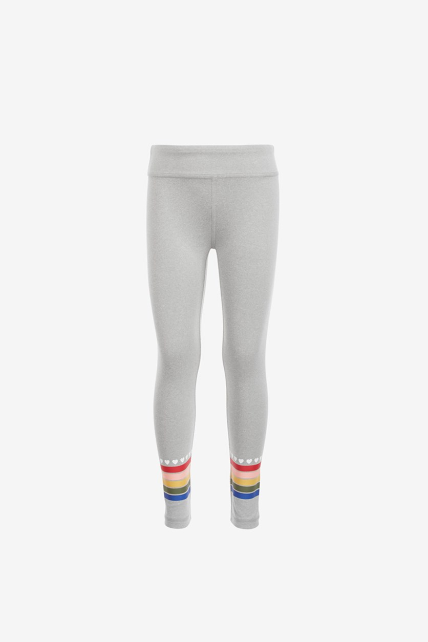 Little Girls Rainbow Stripe Leggings, Heather Grey