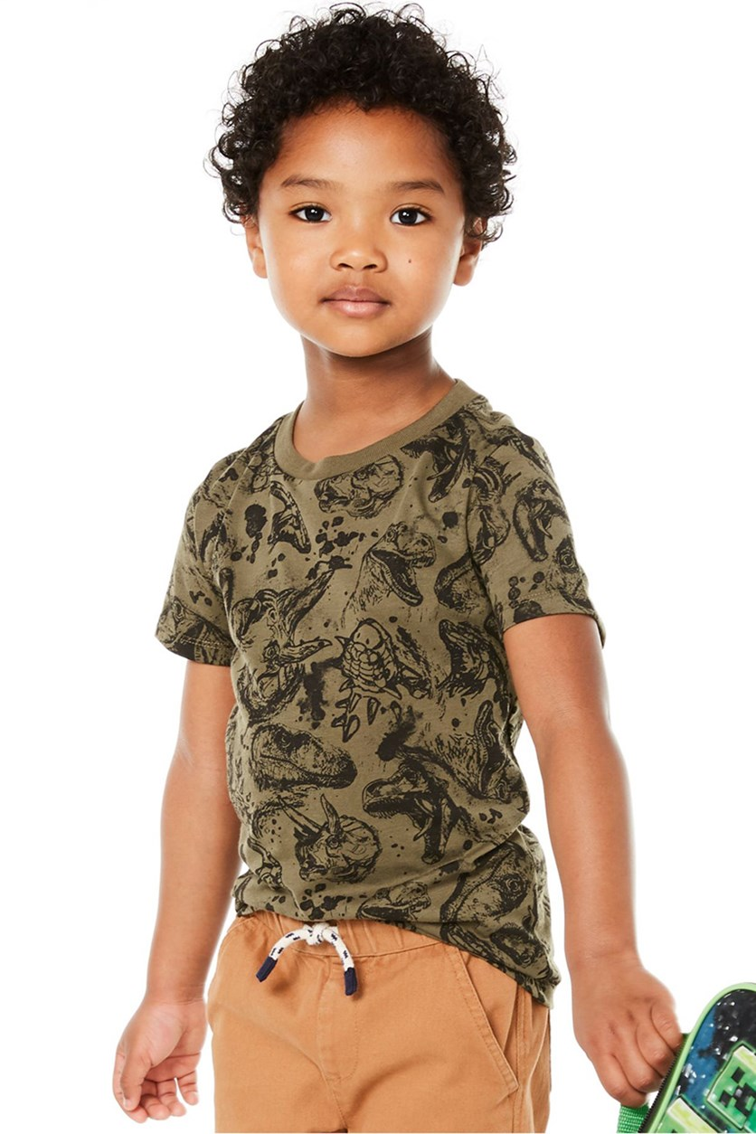 Toddler Boys Fossil-Print T-Shirt, Spiced Sage