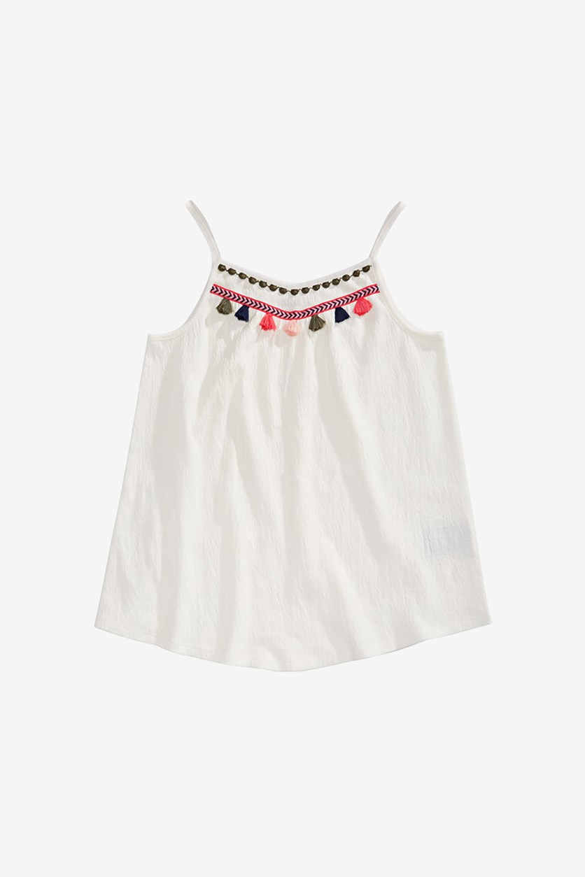 Big Girls Embroidered Tassel Tank Top, Holiday Ivory