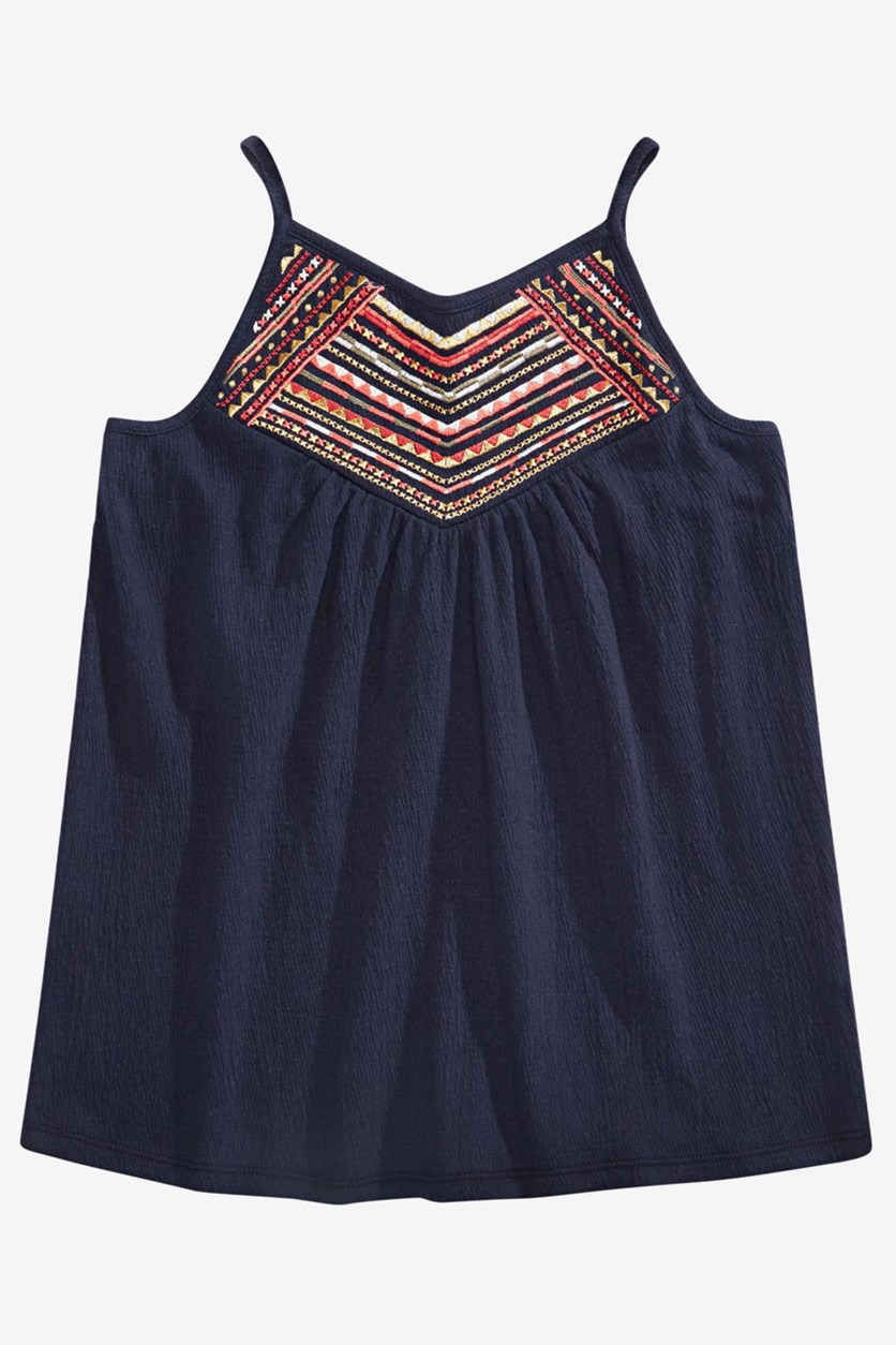 Big Girls Embroidered Tank Top, Navy