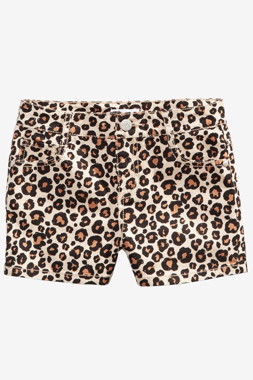 Big Girls Leopard-Print Denim Shorts, Animal Aop