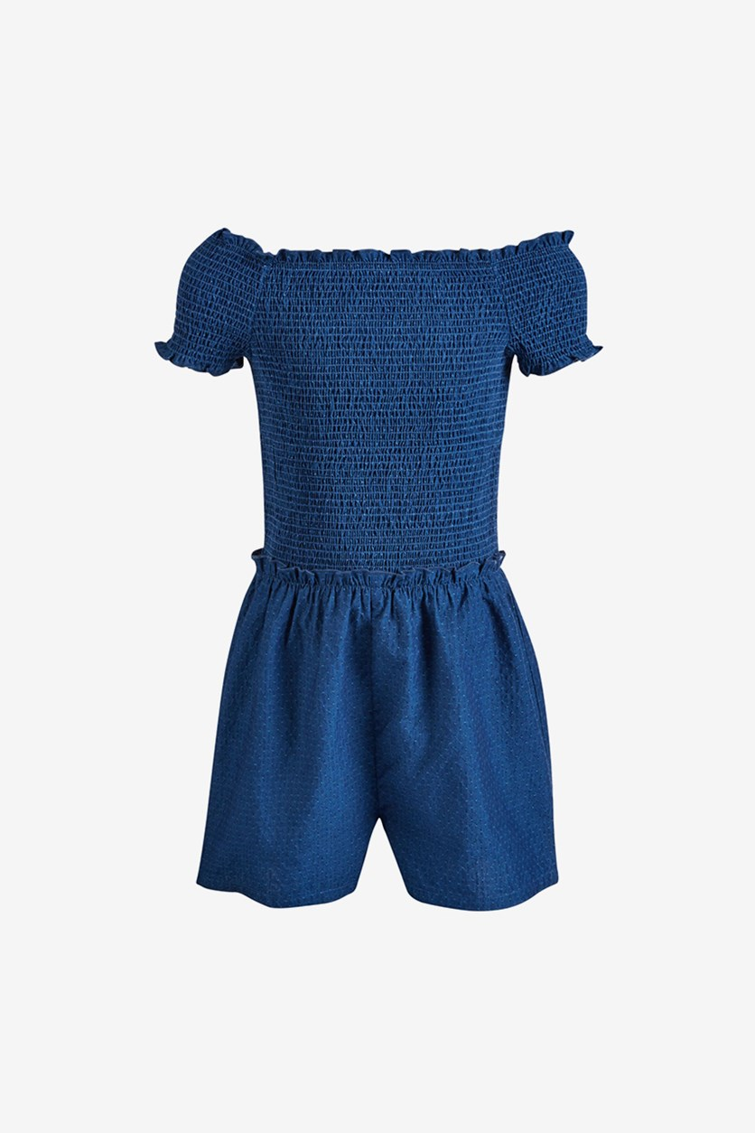 Big Girls Short Sleeve Romper, Medium Blue