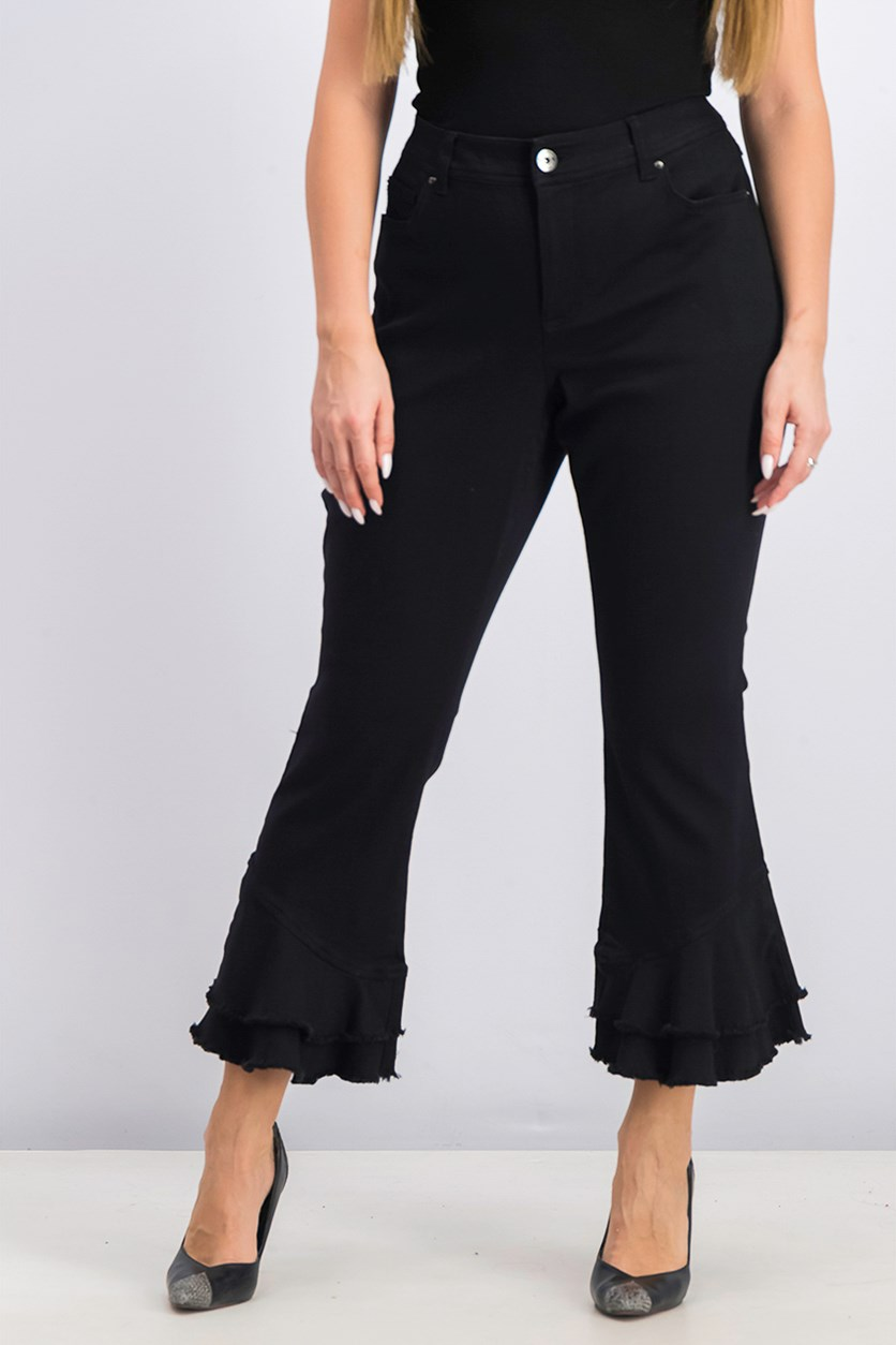 Women's Ruffled Ankle Pants, Black