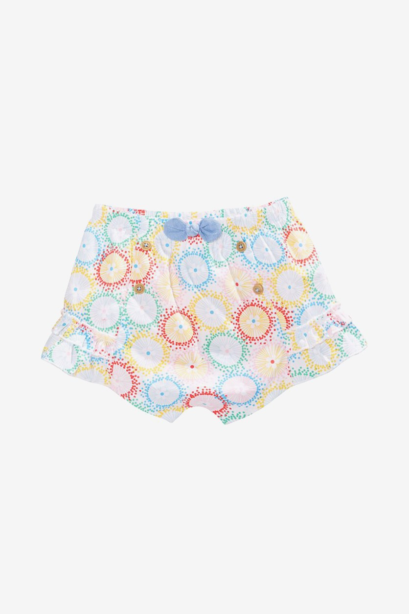 Baby Girls Cotton Printed Shorts, Bright White