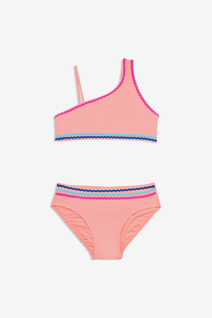 Girls' Asymmetric Two-Piece Swimsuit, Coral Pink