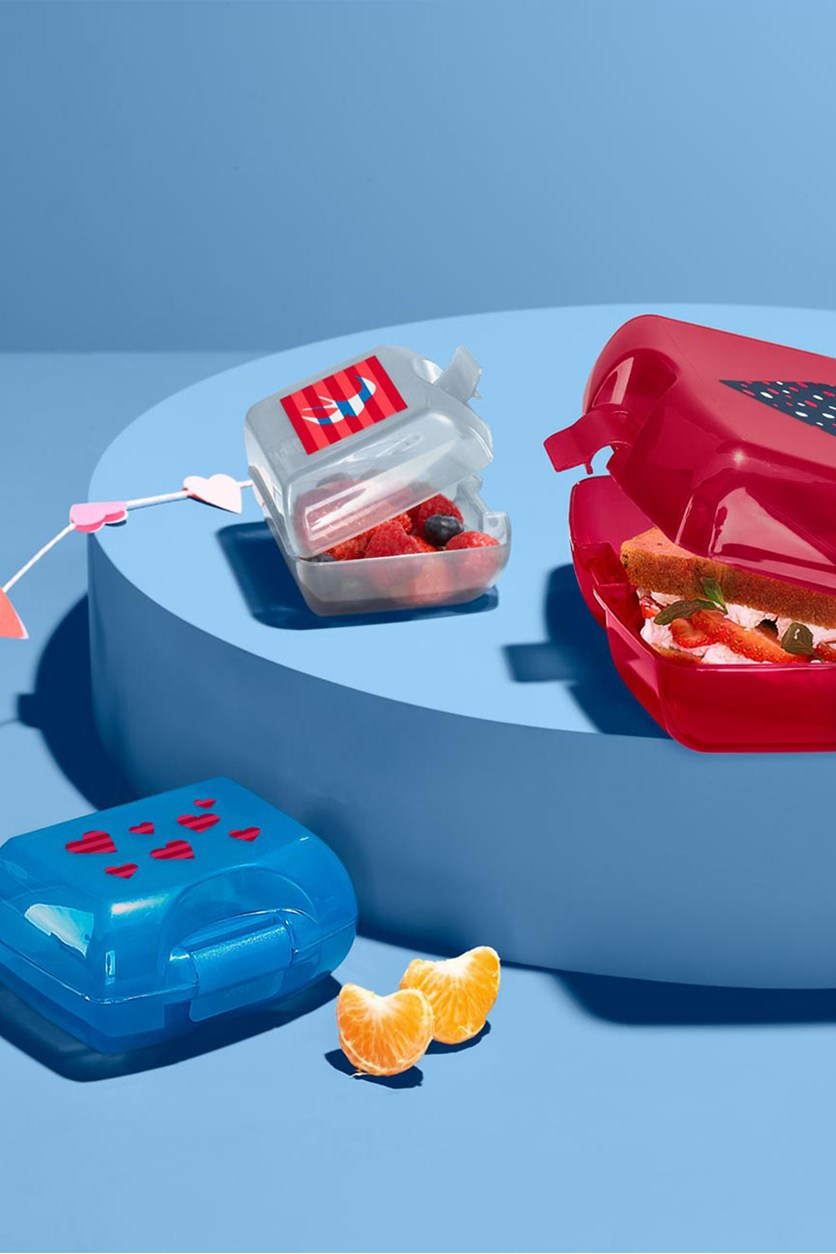 Set of 3 Lunch Box Set,  Red/Blue