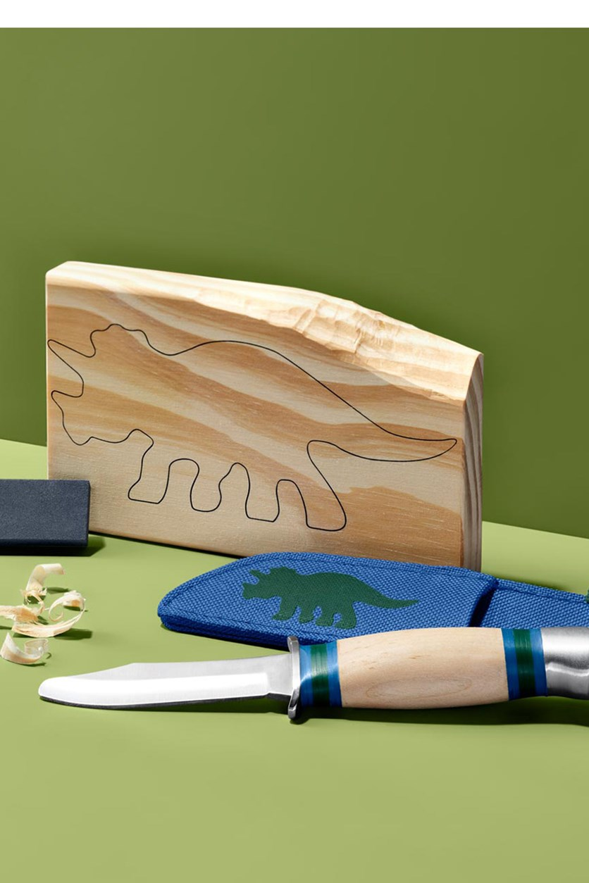 Carving Knife Set, Blue/Green/Beige