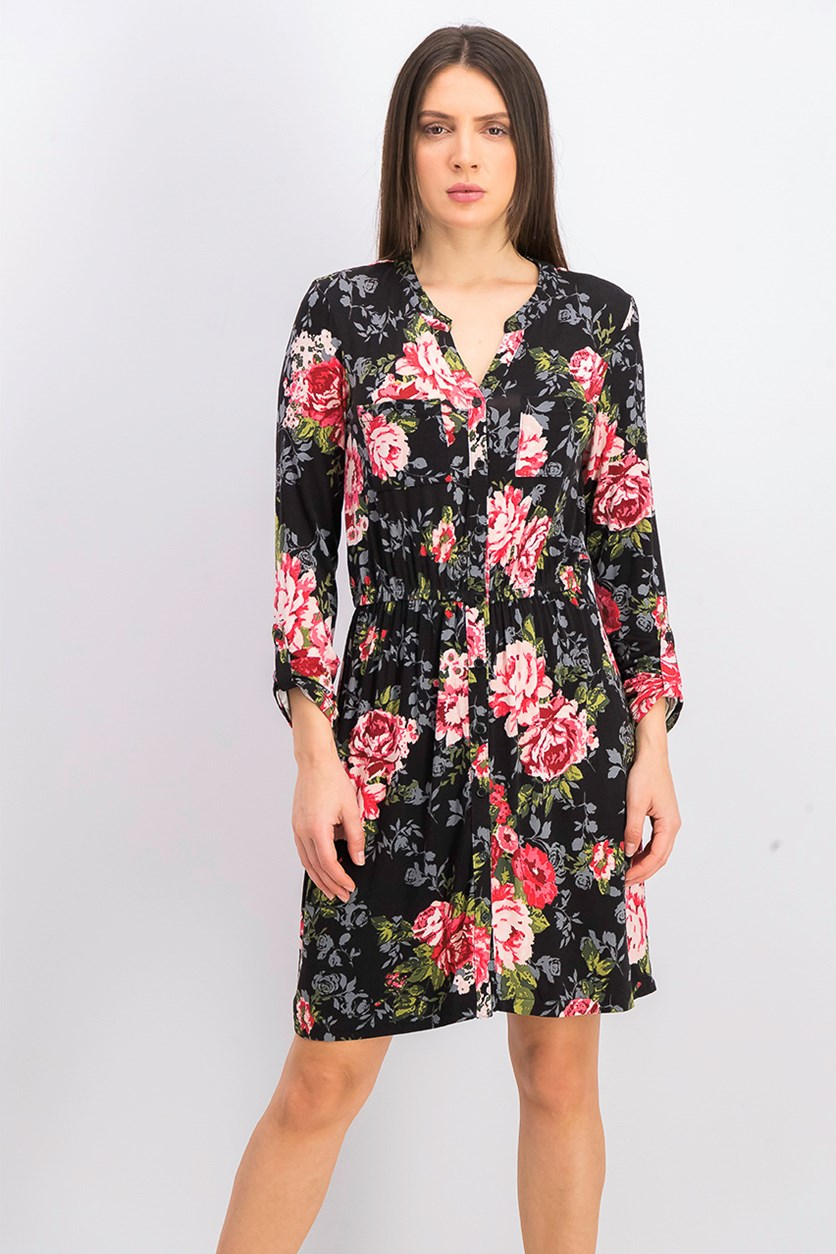 Women's Floral Printed Dress, Black Combo