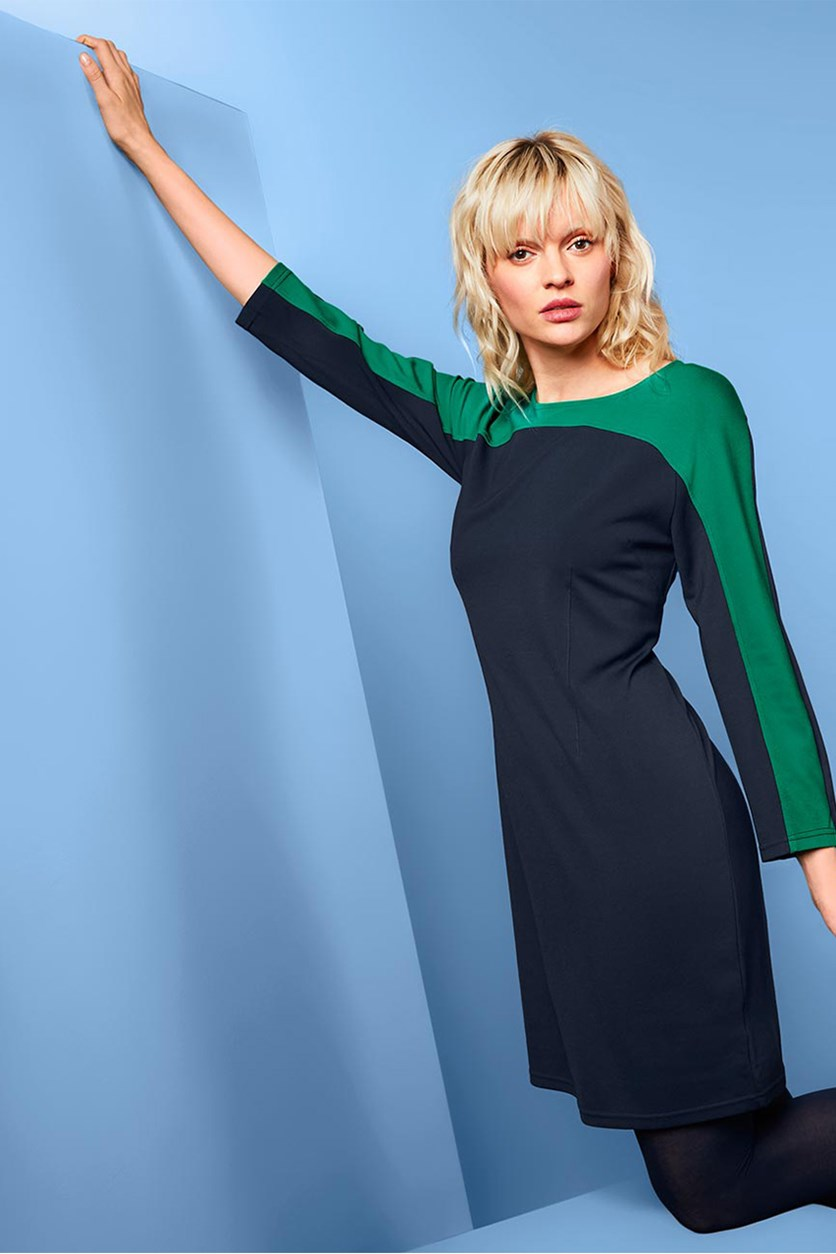 Women's Jersey Dress, Navy/Green