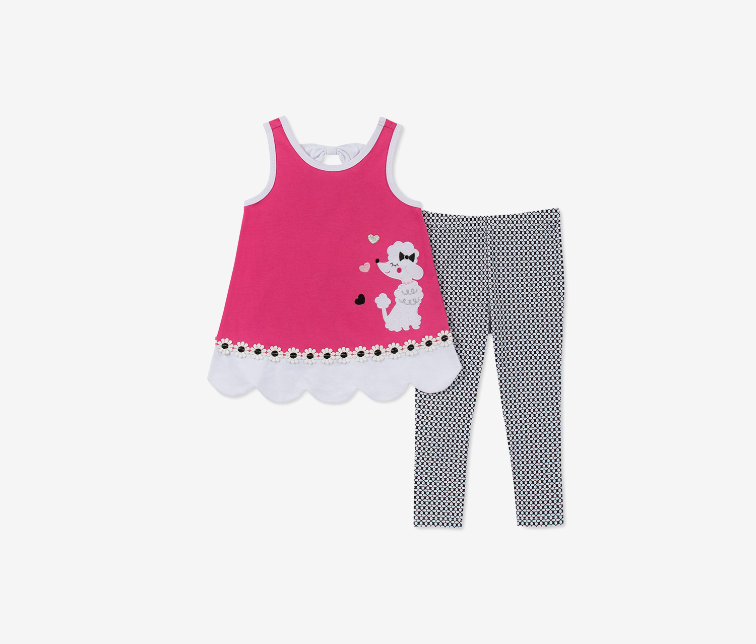 Toddler Girls 2-Pc. Poodle Tunic & Printed Leggings Set, Pink/Black