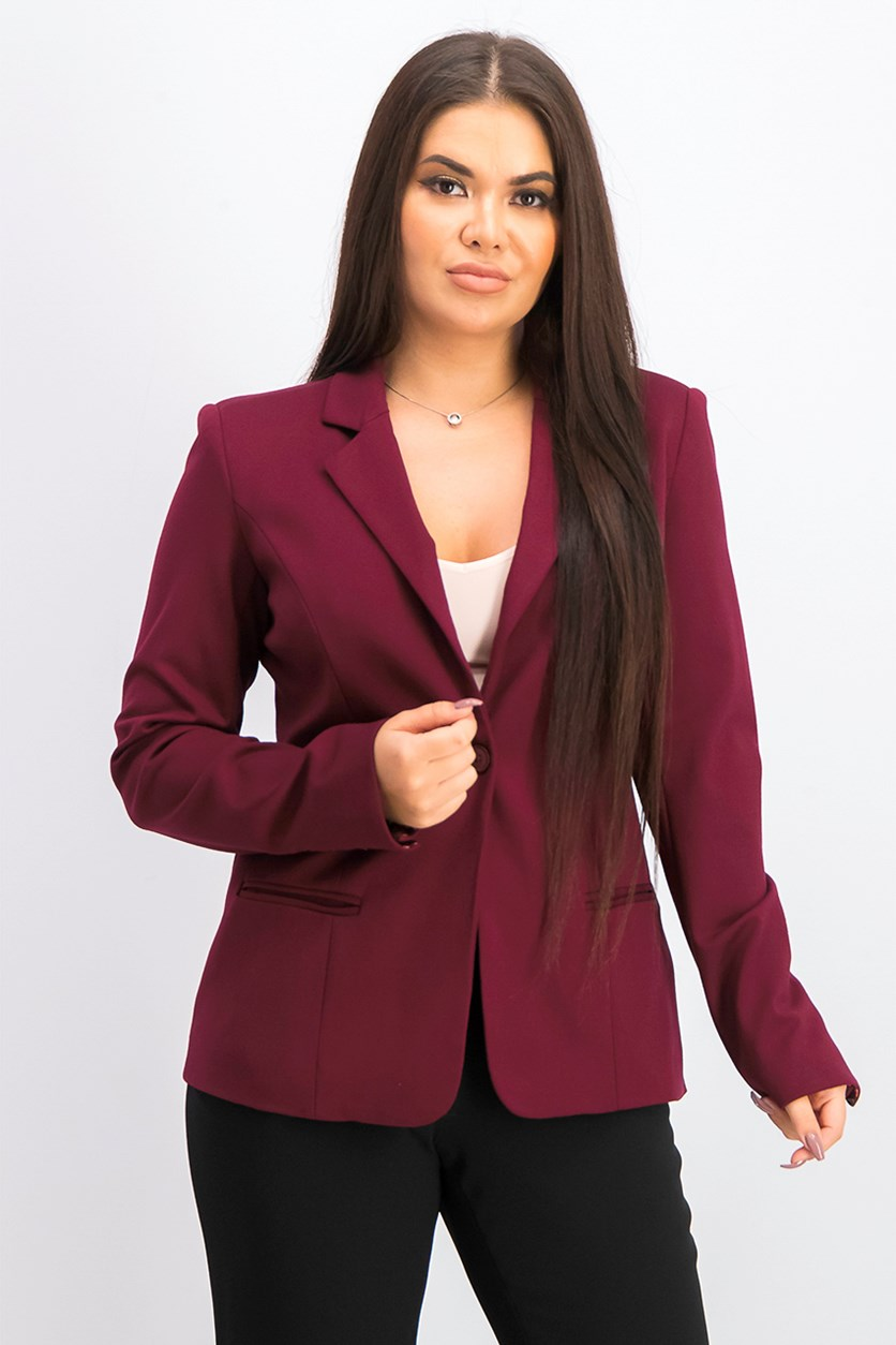 Women's Plain Blazer, Burgundy