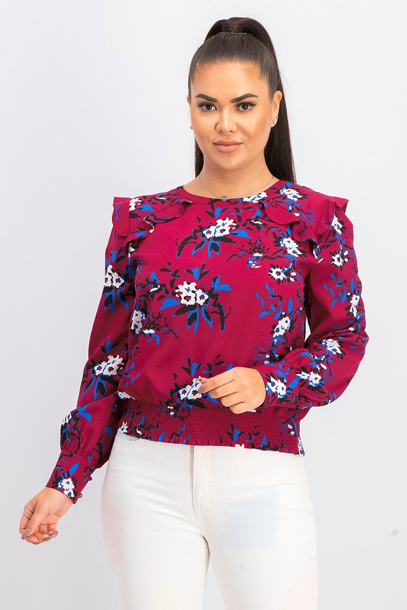 Women's Floral Printed Blouse, Burgundy