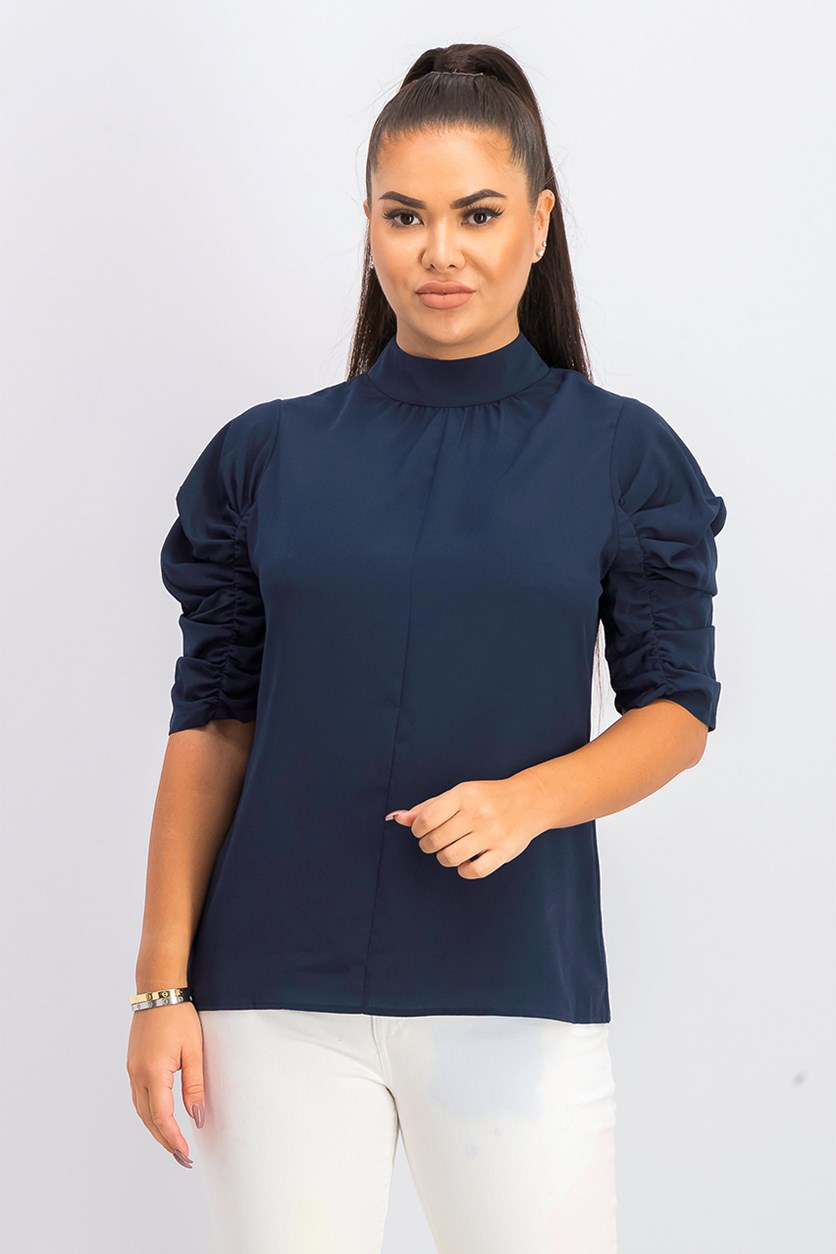 Women's Christara Ruched Sleeve Mock Neck Blouse, Navy