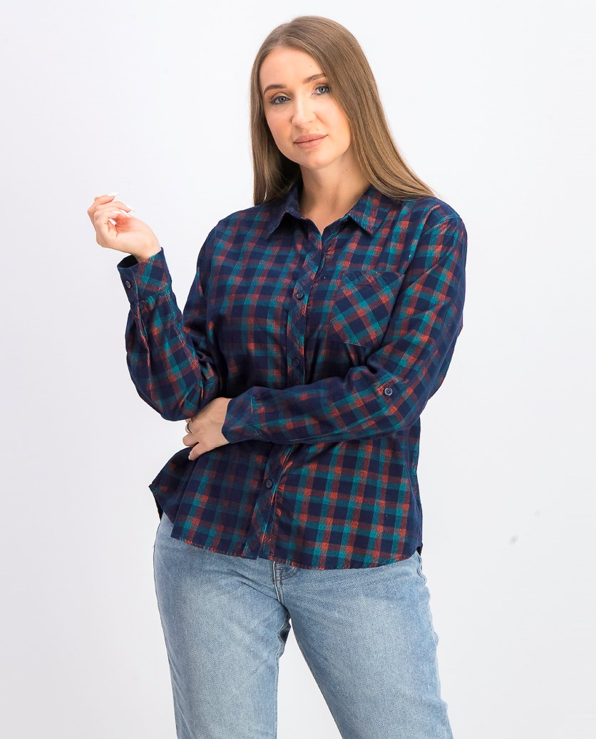 Women's Plaid Casual Top, Navy Combo
