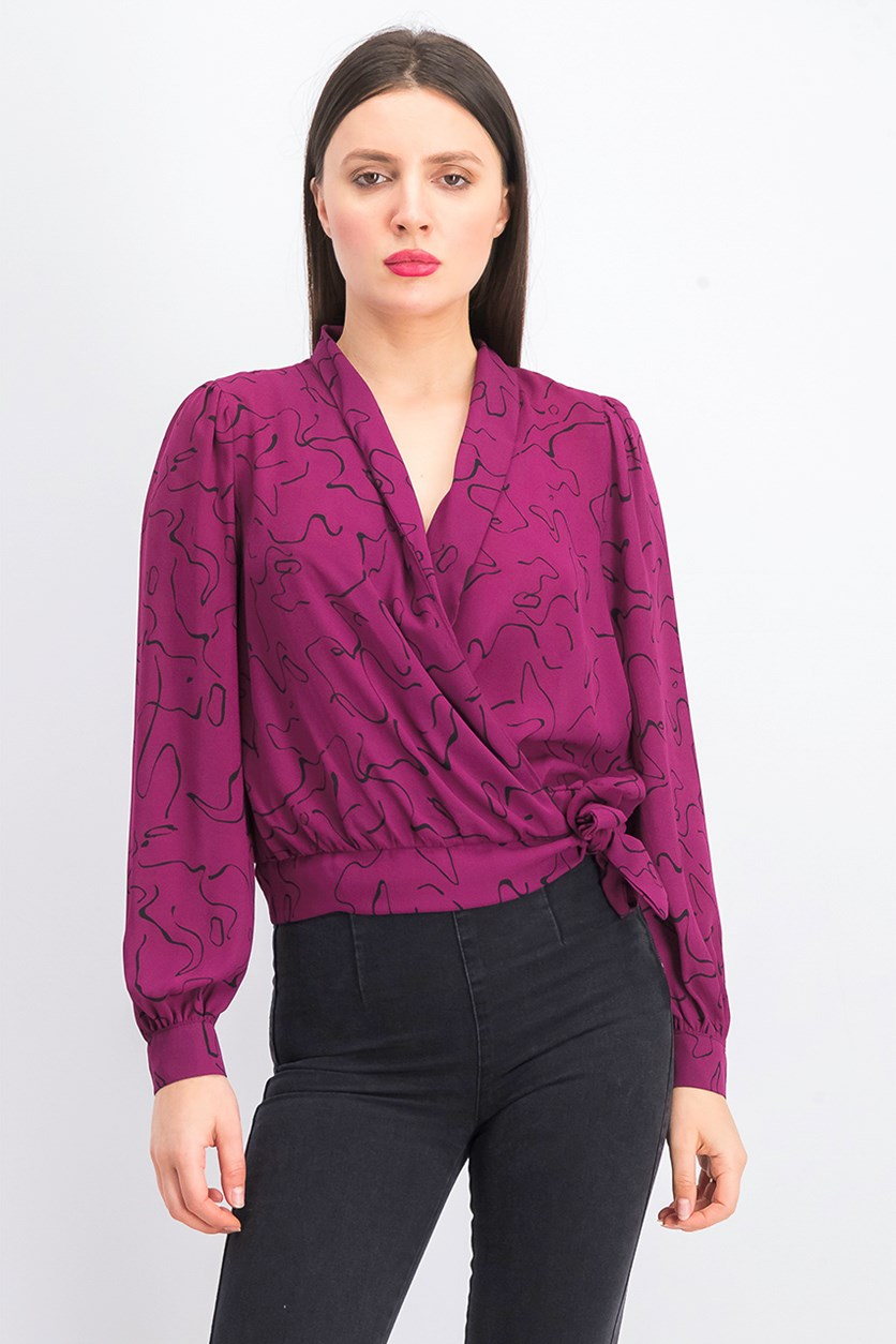 Women's Printed Top, Purple/Black